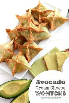 Avocado with cream cheese is super-delicious but wrap a wonton around it and you. Avocado with cream cheese is super-delicious but wrap a wonton around it and you have one WINNER of an appetizer. This is easy and fast to make for anytime snacking Wonton Appetizers, Wonton Recipes, Avocado Recipes, Appetizer Recipes, Avacado Appetizers, Italian Appetizers, Kale Recipes, Cream Recipes, Recipies