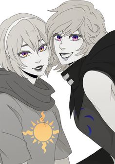 Black abd white rose and roxy with some colour (from homestuck) by black ballad. Seriously his or her (?) Art is sp good check this sucker out on tumblr!
