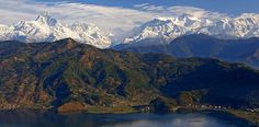 view of fewa lake and Himalayan range