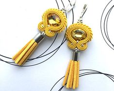 Yellow Earrings, Soutache Earrings, Tassel Earrings, Soutache Jewelry, Sunny Earrings, Tassel Jewelry, Designer Jewelry, Luxury Jewelry