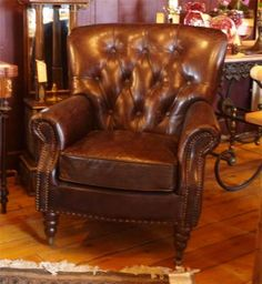Superieur Button Back Distressed Brown Leather Wingback Armchair   Vintage Style |  EBay Wingback Armchair, Sofa