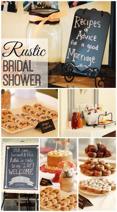 """Fantastic details at this rustic bridal shower! - recipe box """"recipes of advice for a good marriage"""""""