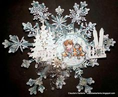 Claudia's Karteria: DT FwSam Challenge #155 Schneeflocken / Snowflakes Snowflakes, Christmas Crafts, Challenges, Winter, Jewelry, Boxes, Bricolage, Handmade, Creative