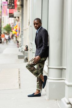 living for the slim camo cargos with a blazer, oxford, and loafers!