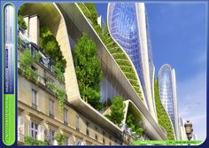 Illustration for article titled Paris as a Green and Sustainable Future City Is Even More Beautiful Garden Architecture, Sustainable Architecture, Architecture Design, Sustainable Design, Sustainable Living, Futuristic City, Futuristic Architecture, Future City, Vincent Callebaut
