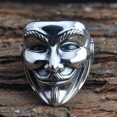 Vintage Men Human Face Marsk 925 Sterling Silver Ring