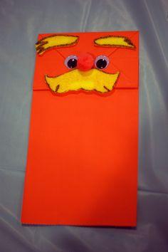Lorax puppet art idea for Lorax book reading.