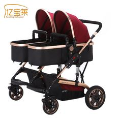 2017 Luxury Twins Baby Stroller  Portable Umbrella Stroller High Landscape Convenience Fashion Style Foldable Stroller