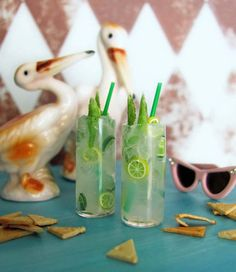 Miniature MOJITO Drinks TWO Cocktails in Tall Glasses (real glass) Tumblers with Green Straws for 1:6 Scale Fashion Dolls and Action Figures