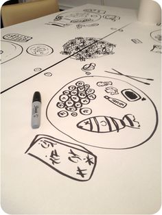 """This is an easy pre-dinner activity! Lay out a paper """"tablecloth"""" and have the kids draw their favourite meal. The options are endless!"""