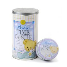 Baby Shower Gift. Put your baby's first shoes, hospital bracelet, newspaper from the day your baby was born, and other mementos in this cute Baby Time Capsule from www.timecapsule.com.