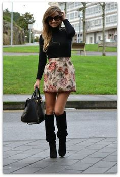 floral skirt & boots - fall outfit