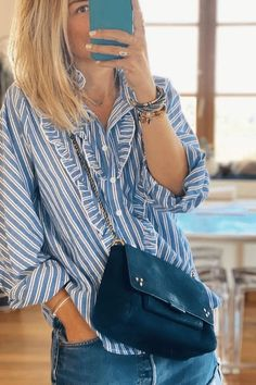 Ruffled striped cotton shirt New Trends, Latest Fashion Trends, Casual Outfits, Fashion Outfits, Fashionable Outfits, Shirt Style, Clothes For Women, Cotton, Fashion Design