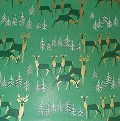 Wrap It Up by Camille Styles Blog for @eBay VTG CHRISTMAS WRAPPING PAPER GIFT WRAP MID CENTURY GOLD ACCENT REINDEER ON GREEN