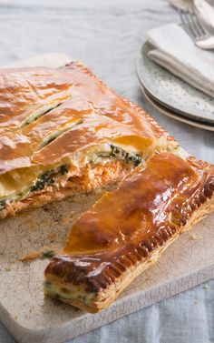Perfect for sharing, Marcello Tully's Salmon and spinach en croute this would make a great alternative to traditional Christmas dinner.