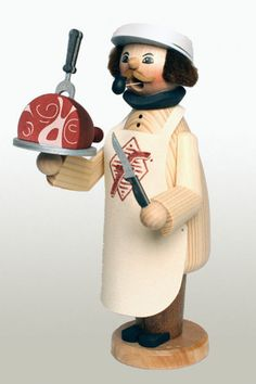 Butcher Meat Cutter German Wooden Christmas Incense Smoker Made in Germany New