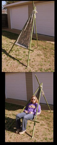 """Hammock Chair - 58"""" of Ripstop Nylon, hem the sides, on one end make a 1 1/2"""" hem pocket, on the other end make a 4 1/2"""" hem pocket. Make a tripod from strong sticks, add some rope to the top, a 3' stick to the bottom and BAM your done!"""