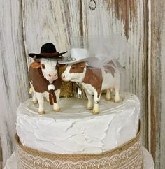 Cow Cake Topper-Animal Wedding Cake Topper-Farm-Sentimental Cow-Barn Wedding Cake Topper-Farmer Boy and Girl-Cow Bride and Groom Barn Wedding Cakes, Funny Wedding Cakes, Funny Wedding Cake Toppers, Themed Wedding Cakes, Wedding Topper, Western Wedding Cakes, Penguin Cake Toppers, Cowgirl Wedding, Horse Wedding