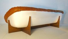 """Fine and Rare Percival Lafer Sofa in Leather, Fibreglass and Rosewood """"Brazil"""" 