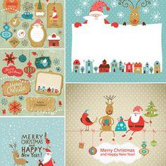 Funny cartoon Christmas cards with Santa vector