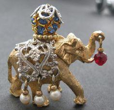 Vintage Signed Napier Gold Tone Elephant Brooch Pin Vtg Circus | eBay-mudder3510