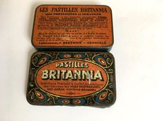 "French vintage pills box  "" Britannia "", advertising medical Tin Box . Antique medicinal box , old and collectible box   Grenoble France ..."