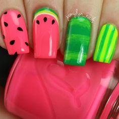 Neon Pink and Green Watermelon Nails Dot Nail Art, Polka Dot Nails, Neon Nails, Pink Nails, Green Nail Designs, Short Nail Designs, Nail Polish Designs, Nail Art Designs, Watermelon Nail Art