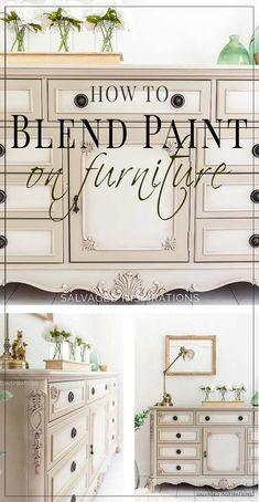 TODAY, I'M SHARING HOW TO BLEND PAINT ON FURNITURE -- AND THE CHEAP TOOL I USE THAT MAKES THIS SOFT-BLENDED-LOOK EASY TO DO. {VIDEO} | Salvaged Inspirations #DIY #DIYfurniture #paintedfurniture #howtopaintfurniture #howtoblend #blendingpaint #paintblending #blendpaintonfurniture #blending #furnituremakeover #furnituretutorials #siblog #salvagedinspirations #dixiebellepaint