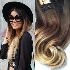 Clip In Hair Extensions / MALIBU BLONDE OMBRE / Human Hair / Body Wave Texture / 10 Piece Clip In Set