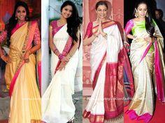 Celebrity in White Silk Sarees