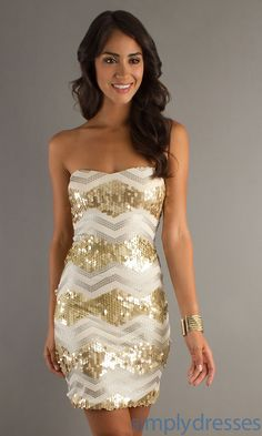 Short Strapless Sequin Dress.... I think perfect bridesmaid dresses if we make the sequins teal!