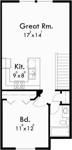Upper Floor Plan for D-441 Multifamily house plans, reverse living house plans, D-441