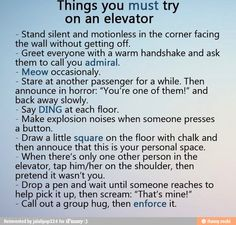 Things you must try on an elevator