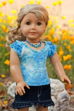 Cute outfit by royal doll boutique on etsy, made using the Liberty Jane Cortina Top Pattern - -perfect for spring! Love those sleeves American Girl Dress, American Girl Crafts, American Doll Clothes, Ag Doll Clothes, Doll Clothes Patterns, America Girl, Journey Girls, Girl Dolls, Ag Dolls
