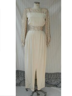 Vintage Andrè Laug Cream Silk Evening Dress with Net and Sequins