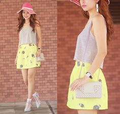 Monki Striped Tank Top, Asianicandy Balloon Print Skirt, The Layers Sheer Socks