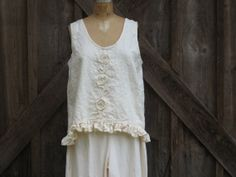 linen tank top camisole vest in ivory or white by linenclothing, $99.00