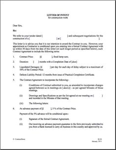 Purchase Real Estate Agent Letter of Intent Word Format Biztree