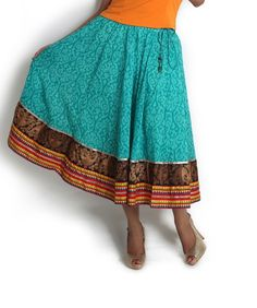 Missing Outfit: 3. Green flared skirt with embroidery detail | Globus Stores Pvt. Ltd.