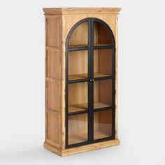 Wood Ellington Arched Door Curio Cabinet - v1