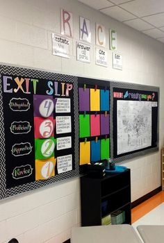Slips…make sticks with kids names. Have them drop in the labeled cans where think they are. (image only)Exit Slips…make sticks with kids names. Have them drop in the labeled cans where think they are. (image only) 4th Grade Classroom, Middle School Classroom, New Classroom, Classroom Setting, Classroom Setup, Classroom Design, Science Classroom, Science Bulletin Boards, Black Bulletin Boards