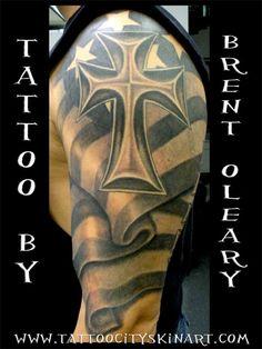 Cross n Flag Tattoo Design On Shoulder — Ideas and Designs Army Tattoos, Irish Tattoos, Military Tattoos, Flag Tattoos, Tatoos, Firefighter Tattoos, Tattoos Pics, Men Tattoos, Tribal Cross Tattoos