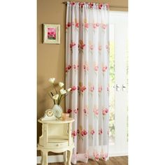 Monaco Eyelet Ring Top Voile Panel Net Curtain Ready Made Red,Chocolate,Black
