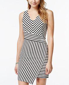 Marilyn Monroe Juniors' Striped Asymmetrical-Hem Sheath Dress - Juniors Dresses - Macy's