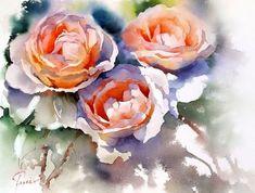 / By Jean Claude Papeix. Watercolor Artists, Watercolor Rose, Watercolor Paintings, Watercolors, Art Floral, Art Aquarelle, Rose Art, Abstract Flowers, Artist Art