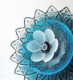 Garden Artisan Art Sculpture Reclaimed Glass Yard Stake Decor Plate Flower Suncatcher Gift For Gardener Turquoise Teal Smokey Black