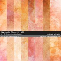 Watercolor Chromatics Paper Pack No. 02 painted papers in shades of orange #designerdigitals