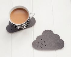 Cloud Felt Coaster pair with punched rain detail - 100% 4mm grey wool felt
