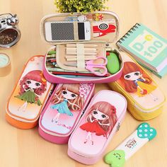 kawaii Lovely Girls School Pencil Case Large Capacity PU Leather Pencil Bag For kids Students Pen Sack Stationery Supplies