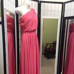 lovely Pink dress Pink one off the Shoulder dress Dessy collection Dresses One Shoulder